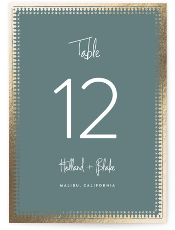 This is a green, gold Table Numbers by Carolyn Nicks called trinkets with Foil Pressed printing on Signature in Classic fold over (blank inside) format. Foil pressed table numbers enhance the look of your tablescape and put the finishing touch ...