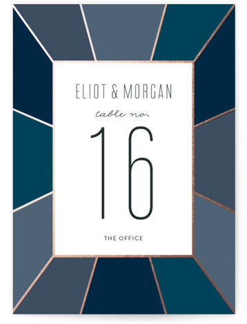 This is a portrait geometric, preppy, blue Table Numbers by Sara Hicks Malone called Pavilion with Foil Pressed printing on Signature in Classic fold over (blank inside) format. Foil pressed table numbers enhance the look of your tablescape and put ...