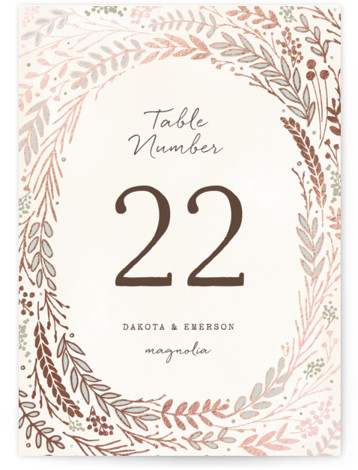 This is a portrait botanical, beige Table Numbers by Hooray Creative called Rustic Wreath with Foil Pressed printing on Signature in Classic fold over (blank inside) format. Foil pressed table numbers enhance the look of your tablescape and put the ...