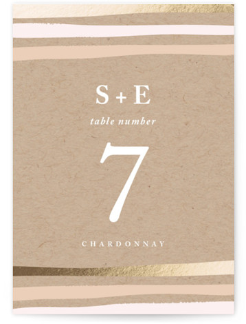 This is a portrait bohemian, modern, pink, brown Table Numbers by Carolyn MacLaren called Striped Love with Foil Pressed printing on Signature in Classic fold over (blank inside) format. Foil pressed table numbers enhance the look of your tablescape and ...