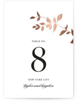 This is a rosegold table number by Jennifer Postorino called Daydream with foil-pressed printing on museum board in standard.