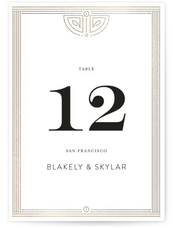 This is a portrait vintage, gold Table Numbers by Phrosne Ras called Gatsby Frame with Foil Pressed printing on Signature in Classic fold over (blank inside) format. Foil pressed table numbers enhance the look of your tablescape and put the ...