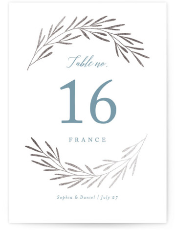 This is a blue, silver Table Numbers by Kelly Schmidt called Gilded Leaves with Foil Pressed printing on Signature in Classic fold over (blank inside) format. Foil pressed table numbers enhance the look of your tablescape and put the finishing ...