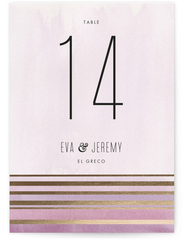 This is a portrait modern, purple, gold Table Numbers by Carolyn Nicks called Golden Sunset with Foil Pressed printing on Signature in Classic fold over (blank inside) format. Gold and watercolored stripes play off of one another to emulate a ...