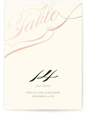 This is a portrait bold typographic, classical, elegant, formal, rosegold Table Numbers by annie clark called Winter Flourish with Foil Pressed printing on Signature in Classic fold over (blank inside) format. Foil pressed table numbers enhance the look of your ...