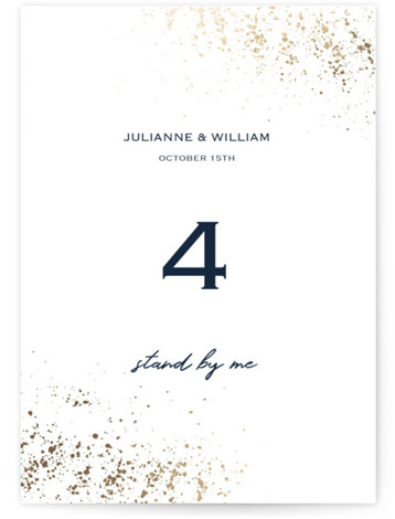 This is a blue, gold Table Numbers by Juliana Zimmermann called Paint Splash with Foil Pressed printing on Signature in Classic fold over (blank inside) format. Foil pressed table numbers enhance the look of your tablescape and put the finishing ...