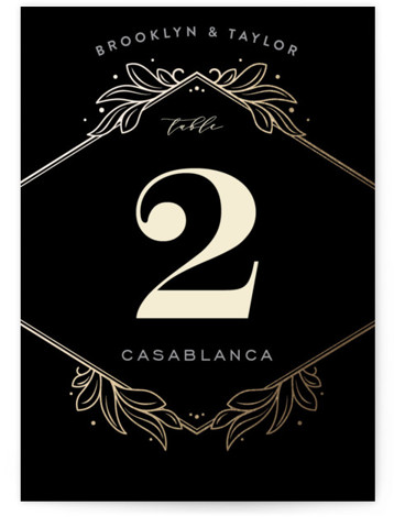 This is a portrait botanical, black Table Numbers by GeekInk Design called Engraved with Foil Pressed printing on Signature in Classic fold over (blank inside) format. Foil pressed table numbers enhance the look of your tablescape and put the finishing ...