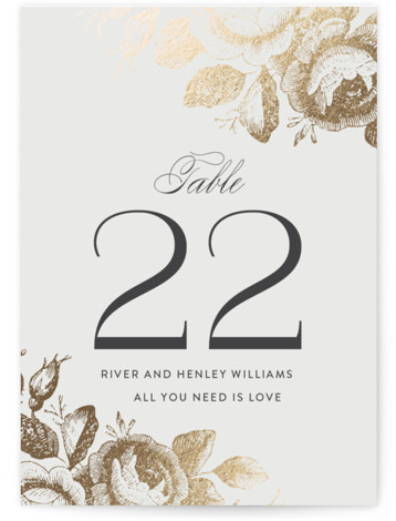This is a grey, gold Table Numbers by Design Lotus called Beloved with Foil Pressed printing on Signature in Classic fold over (blank inside) format. Foil pressed table numbers enhance the look of your tablescape and put the finishing touch ...