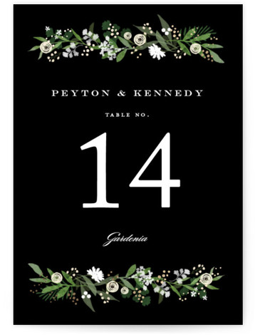This is a black, green, gold Table Numbers by Jennifer Wick called Stacked wedding with Foil Pressed printing on Signature in Classic fold over (blank inside) format. A custom type design with whimsical florals