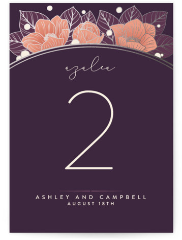 This is a purple Table Numbers by GeekInk Design called Resplendent with Foil Pressed printing on Signature in Classic fold over (blank inside) format. Beautiful vintage style flowers and leaves frame your information in this wedding invite.