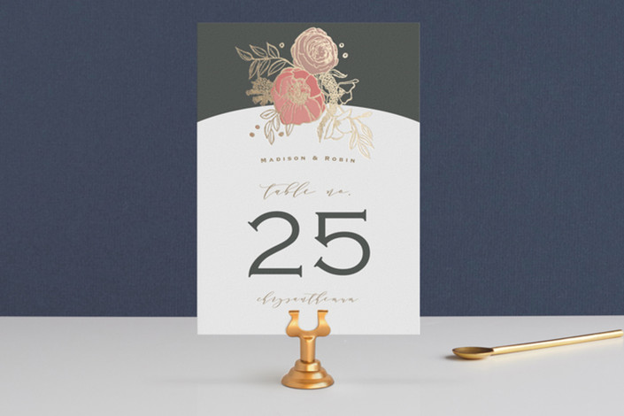 """Floral Sprigs"" - Foil-pressed Wedding Table Numbers in Coral by CaroleeXpressions."