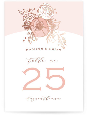 This is a pink, rosegold Table Numbers by CaroleeXpressions called Floral Sprigs with Foil Pressed printing on Signature in Classic fold over (blank inside) format. Foil pressed table numbers enhance the look of your tablescape and put the finishing touch ...