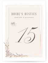 This is a beige table number by chocomocacino called positano with foil-pressed printing on doublethick in standard.
