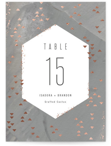 This is a grey Table Numbers by Hooray Creative called Coral Geometrics with Foil Pressed printing on Signature in Classic fold over (blank inside) format. Foil pressed table numbers enhance the look of your tablescape and put the finishing touch ...