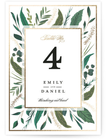 This is a white Table Numbers by Susan Moyal called Emerald Leaves with Foil Pressed printing on Signature in Classic fold over (blank inside) format. Foil pressed table numbers enhance the look of your tablescape and put the finishing touch ...