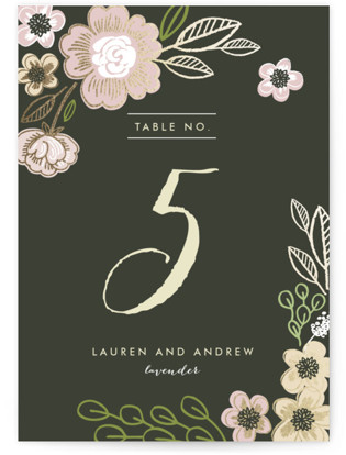 Botanical Wreath Foil-pressed Table Numbers