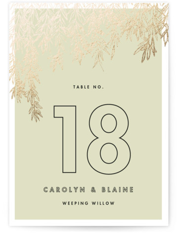 This is a portrait classical, modern, green, gold Table Numbers by Carolyn Nicks called Olive Branches with Foil Pressed printing on Signature in Classic fold over (blank inside) format. A modern and simple invitation showcasing sketched olive branches.