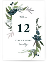 This is a blue table number by Susan Moyal called Soft Greenery with foil-pressed printing on doublethick in standard.