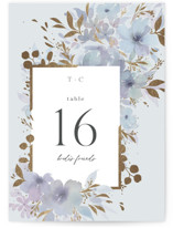 This is a blue table number by Four Wet Feet Studio called Frosted Blossoms with foil-pressed printing on doublethick in standard.