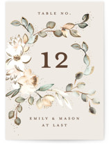 This is a beige table number by Petra Kern called Serena with foil-pressed printing on doublethick in standard.
