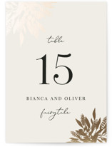 This is a beige table number by Iveta Angelova called Winter Bouquet with foil-pressed printing on doublethick in standard.