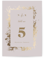 This is a purple table number by Ana Sharpe called Patina Frame with foil-pressed printing on doublethick in standard.