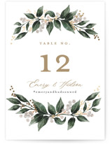 This is a brown table number by Alethea and Ruth called Vine and Berry Frame with foil-pressed printing on doublethick in standard.
