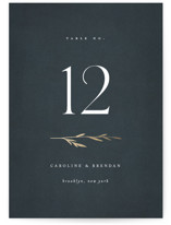 This is a blue table number by Kelly Schmidt called Oval Botanical with foil-pressed printing on doublethick in standard.