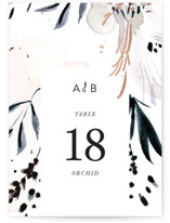 This is a black table number by Eve Schultz called sara with foil-pressed printing on doublethick in standard.