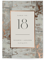 This is a grey table number by Heather Schertzer called Gilded birch bark with foil-pressed printing on signature in standard.