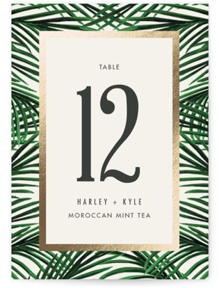 Tropical Love Foil-pressed Table Numbers
