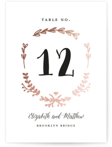 This is a portrait rustic, rosegold, black and white Table Numbers by Susan Brown called Always with Foil Pressed printing on Signature in Classic fold over (blank inside) format. Classic elements with just a bit of color.