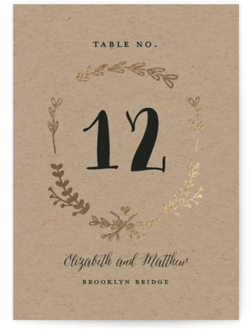 This is a portrait rustic, brown, gold Table Numbers by Susan Brown called Always with Foil Pressed printing on Signature in Classic fold over (blank inside) format. Classic elements with just a bit of color.