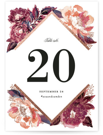 This is a pink, rosegold Table Numbers by Alethea and Ruth called Painted Peony Corners with Foil Pressed printing on Signature in Classic fold over (blank inside) format. Foil pressed table numbers enhance the look of your tablescape and put ...