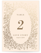 This is a beige table number by Julia Hall called Baby's Breath with foil-pressed printing on doublethick in standard.