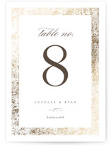 This is a brown table number by Pixel and Hank called Inlay with foil-pressed printing on signature in standard.