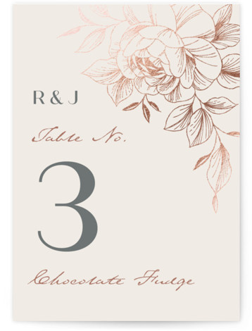 Lovely Foil-Pressed Table Numbers