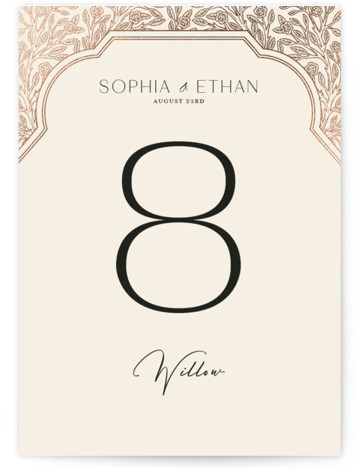 Heirloom Branches Foil-Pressed Table Numbers
