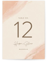 This is a pink table number by Robin Ott called empyrean with foil-pressed printing on signature in standard.