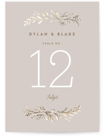 This is a portrait botanical, rustic, grey Table Numbers by Jennifer Wick called Rolling Names with Foil Pressed printing on Signature in Classic fold over (blank inside) format. Foil pressed table numbers enhance the look of your tablescape and put ...