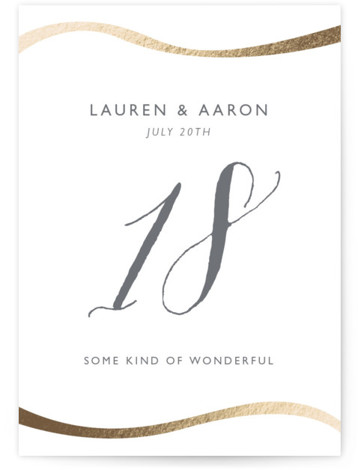 This is a portrait classical, elegant, modern, gold Table Numbers by Erin Deegan called A Sparkly Love with Foil Pressed printing on Signature in Classic fold over (blank inside) format. Photo Valentine's Day Card featuring a modern look with a ...