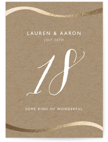 This is a portrait classical, elegant, modern, brown, gold Table Numbers by Erin Deegan called A Sparkly Love with Foil Pressed printing on Signature in Classic fold over (blank inside) format. Photo Valentine's Day Card featuring a modern look with ...