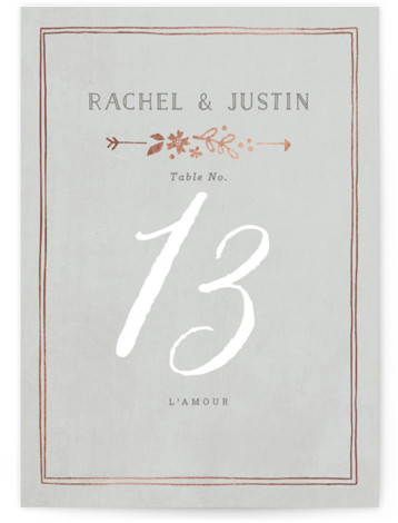 This is a portrait floral, hand drawn, vintage, grey Table Numbers by Jennifer Wick called Alabaster Florals with Foil Pressed printing on Signature in Classic fold over (blank inside) format. Foil pressed table numbers enhance the look of your tablescape ...