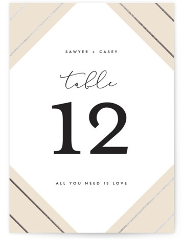 This is a beige, silver Table Numbers by carly reed walker called Monroe with Foil Pressed printing on Signature in Classic fold over (blank inside) format. Foil pressed table numbers enhance the look of your tablescape and put the finishing ...