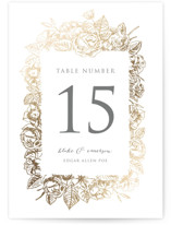 Gilded Wildflowers Foil-Pressed Wedding Table Numbers