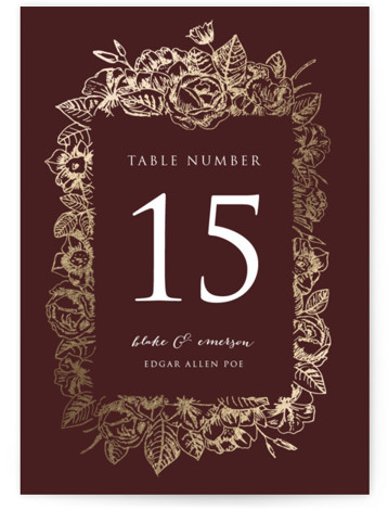 This is a portrait botanical, red Table Numbers by Smudge Design called Gilded Wildflowers with Foil Pressed printing on Signature in Classic fold over (blank inside) format. Foil pressed table numbers enhance the look of your tablescape and put the ...