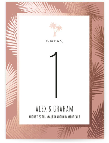 This is a portrait simple and minimalist, pink Table Numbers by jot and tittle design called Gilded Palms with Foil Pressed printing on Signature in Classic fold over (blank inside) format. Foil pressed table numbers enhance the look of your ...