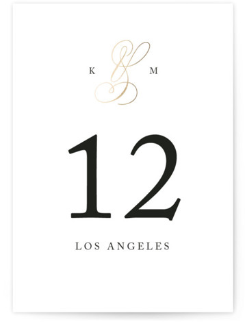 This is a portrait classic and formal, gold Table Numbers by Kimberly FitzSimons called Purity with Foil Pressed printing on Signature in Classic fold over (blank inside) format. Foil pressed table numbers enhance the look of your tablescape and put ...