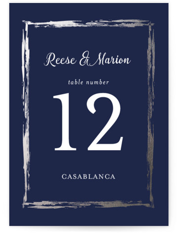 This is a portrait blue, silver Table Numbers by Poi Velasco called Black Tie In Border with Foil Pressed printing on Signature in Classic fold over (blank inside) format. Foil pressed table numbers enhance the look of your tablescape and ...
