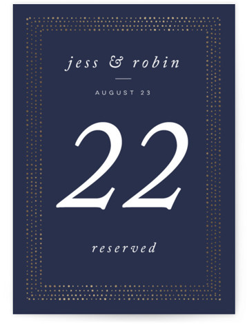This is a portrait modern, blue Table Numbers by Lori Wemple called Elegant Frame with Foil Pressed printing on Signature in Classic fold over (blank inside) format. Foil pressed table numbers enhance the look of your tablescape and put the ...